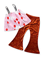 cheap -Girls' Daily Solid Colored Polka Dot Print Clothing Set, Cotton Polyester Summer Sleeveless Cute Active Blushing Pink