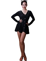 cheap -Latin Dance Dresses Women's Training Modal Crystals / Rhinestones Long Sleeves Natural Dress