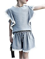 cheap -Girls' Daily Solid Colored Clothing Set, Cotton Spring Summer Short Sleeves Cute White Blushing Pink Gray