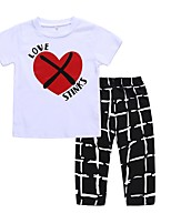 cheap -Unisex Daily Holiday Print Check Clothing Set, Cotton Spring Summer Short Sleeves Active White