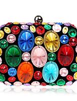 Недорогие -Жен. Мешки Полиэстер / ABS + PC Вечерняя сумочка Кристаллы для Свадьба / Для праздника / вечеринки Золотой / Лиловый / Цвет радуги