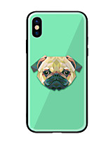 cheap -Case For Apple iPhone X iPhone 8 Pattern Back Cover Dog Hard Tempered Glass for iPhone X iPhone 8 Plus iPhone 8 iPhone 7 iPhone 6s Plus