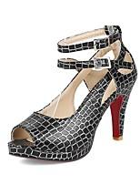 abordables -Femme Chaussures Similicuir Eté Escarpin Basique Chaussures à Talons Talon Cône Bout ouvert Boucle Blanc / Noir