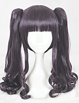 cheap -Synthetic Wig Curly Layered Haircut Natural Hairline Purple Women's Capless Cosplay Wig Mid Length Synthetic Hair Christmas