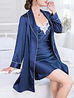 abordables -Costumes Satin & Soie Vêtement de nuit Femme - Maille, Couleur Pleine