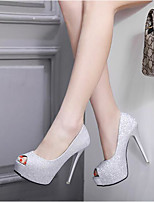 cheap -Women's Shoes PU(Polyurethane) Summer Basic Pump Heels Stiletto Heel Peep Toe Sequin Black / Silver