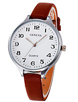 cheap -Women's Wrist Watch Chinese Large Dial Leather Band Elegant / Bangle Black / White / Brown