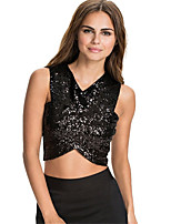 cheap -Women's Cute Basic Tank Top - Solid Colored, Backless Sequins Criss-Cross Patchwork