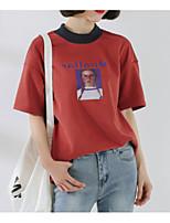 preiswerte -Damen Porträt Buchstabe Festtage Baumwolle T-shirt, Rundhalsausschnitt Druck