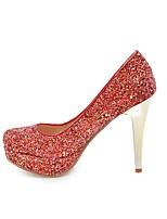 preiswerte -Damen Schuhe Paillette Frühling / Herbst Komfort High Heels Stöckelabsatz Runde Zehe Silber / Rot / Rosa / Party & Festivität
