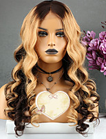 Недорогие -Remy Парик Бразильские волосы Волнистый Стрижка каскад 130% плотность С детскими волосами Для вечеринок Золотистый Короткие Длинные