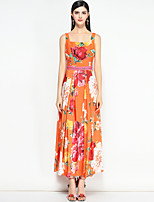 cheap -MARY YAN&YU Women's Street chic Boho Slim Swing Dress - Floral Maxi Strap