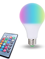 baratos -1pç 10W 800lm lm E26/E27 Lâmpada Redonda LED 6pcs Contas LED SMD 5050 Regulável Decorativa Controle Remoto RGB Branco 85-265V