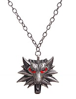 abordables -Homme Pendentif de collier  -  Animaux Métallique Loup Argent Rouge 45cm Colliers Tendance Pour Quotidien Soirée