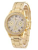 baratos -Mulheres Quartzo Simulado Diamante Relógio Relógio Elegante Relógio de Moda Chinês imitação de diamante Relógio Casual Lega Banda Casual