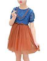 cheap -Girl's Daily Solid Colored Dress, Cotton Polyester Spring Summer Short Sleeves Cute Blue Blushing Pink