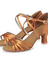 cheap -Women's Latin Silk Heel Professional Beginner Ribbon Tie Chunky Heel Dark Brown Nude 2 - 2 3/4inch Customizable