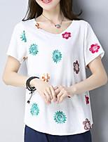 abordables -Mujer Básico Bordado Camiseta Floral