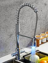 economico -Rubinetto da cucina - Moderno Cromo Estraibile / Miscelatore canna bassa / Canna alta Installazione centrale