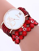 cheap -Women's Quartz Fashion Watch Chinese Imitation Diamond PU Band Flower Casual Black White Blue Red Brown Pink Purple