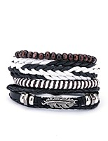 cheap -Men's Leather 4pcs Wrap Bracelet - Fashion European Irregular Black Bracelet For Gift Daily