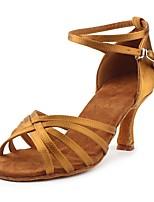 Недорогие -Жен. Обувь для латины Шёлк На каблуках Кубинский каблук Персонализируемая Танцевальная обувь Коричневый / В помещении