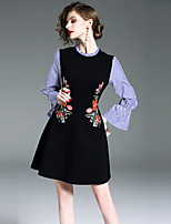 cheap -SHIHUATANG Women's Vintage Street chic Flare Sleeve A Line Dress - Floral, Embroidered