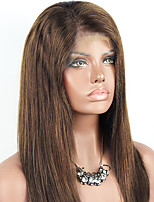 cheap -Remy Human Hair Wig Brazilian Hair Straight 130% Density With Baby Hair With Bleached Knots Unprocessed Natural Hairline Light Brown