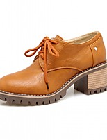 abordables -Mujer Zapatos Semicuero Primavera / Otoño Confort / Innovador Tacones Tacón Cuadrado Dedo redondo Negro / Amarillo / Caqui
