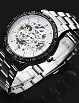 cheap -ASJ Men's Automatic self-winding Mechanical Watch Dress Watch Chinese Hollow Engraving Stainless Steel Band Luxury Cool Silver