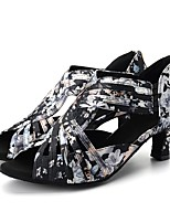 cheap -Women's Latin Shoes / Modern Shoes Stretch Satin Sandal / Heel Professional / Practice Flora Flared Heel Customizable Dance Shoes Black /
