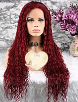 Недорогие -Remy Парик Бразильские волосы Кудрявый Стрижка каскад 130% плотность С детскими волосами Красный Короткие Длинные Средняя длина Жен.