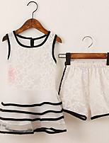 cheap -Girls' Daily School Striped Clothing Set, Cotton Rayon Polyester Summer Sleeveless Cute White