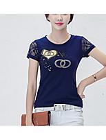 cheap -Women's Basic T-shirt - Floral Lace Print