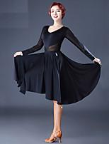 abordables -Danse latine Robes Femme Utilisation Tulle Soie Glacée Combinaison Ruché Manches Longues Robe