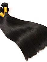 Недорогие -3 Связки Бразильские волосы Прямой Натуральные волосы Человека ткет Волосы / One Pack Solution / Накладки из натуральных волос 8-28 дюймовый Ткет человеческих волос Лучшее качество / Cool