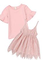 cheap -Kids Girls' Color Block Short Sleeves Clothing Set