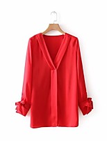 cheap -Women's Vintage Puff Sleeve Cotton Blouse - Solid Colored, Tassel