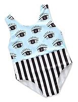 cheap -Girls' Cute Active Striped Print Swimwear, Cotton Polyester Sleeveless Blue