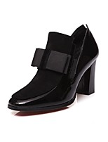 cheap -Women's Shoes Leather Spring Fall Basic Pump Heels Chunky Heel Round Toe Bowknot for Office & Career Black