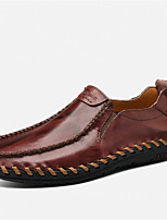 cheap -Men's Shoes Leather Spring Summer Comfort Loafers & Slip-Ons for Casual Outdoor Black Yellow Burgundy