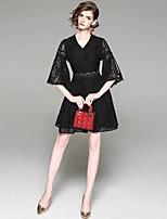 Недорогие -Жен. Классический Вспышка рукава А-силуэт Платье - Однотонный, Кружева Выше колена