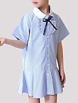 baratos -Para Meninas Listrado Manga Curta Vestido