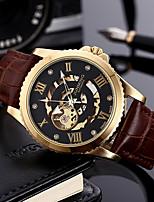 cheap -Men's Automatic self-winding Mechanical Watch Skeleton Watch Sport Watch Chronograph PU Band Luxury Fashion Brown