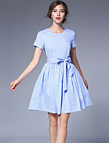 cheap -SHIHUATANG Women's Street chic A Line Dress - Check Bow