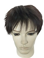 cheap -Synthetic Wig Curly Asymmetrical Haircut Layered Haircut Natural Hairline Black Men's Capless Celebrity Wig Party Wig Natural Wigs