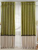 cheap -Curtains Drapes Living Room Color Block Cotton / Polyester Printed