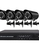 abordables -Système de sécurité 4 ch avec 4ch 1080n ahd dvr 4pcs 2.0mp caméras résistant aux intempéries avec vision nocturne