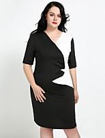 abordables -Femme Grandes Tailles Travail Chic de Rue Mince Moulante Gaine Tee Shirt Robe - Ruché, Couleur Pleine Col en V Midi Mi-long