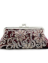 cheap -Women's Bags Velvet Evening Bag Crystals for Event / Party Blue / Black / Wine